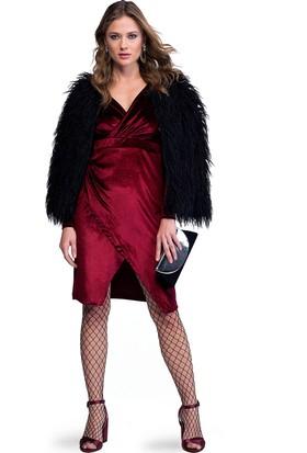 Eka Kruvaze Yaka Yırtmaçlı Kadife Elbise