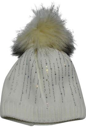 Laslusa İçi Polarlı Beyaz Suyolu Taşlı Bere