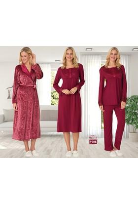Şık Mecit 1905 Kadın Pijama Gecelik Sabahlık Dörtlü Takım