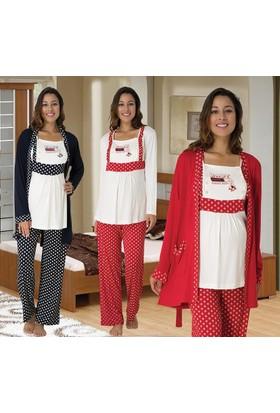 Meyra 2482 Hamile Lohusa Üçlü Pijama Takımı
