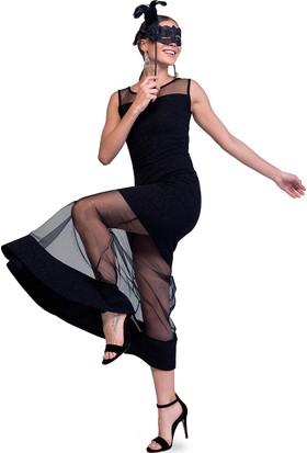 Sense 14613 Üst Robaları Tül Ve Eteği Tül Garnili Simli Elbise