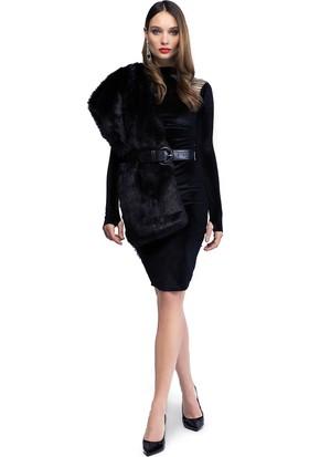 Quincey Omuz Detaylı Kadife Elbise