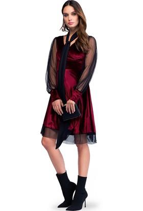 Quincey Kolu Tül Kadife Elbise