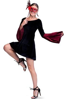 Quincey İspanyol Kol Kadife Elbise