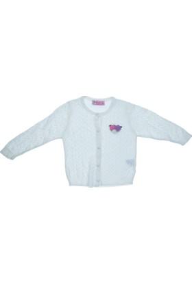 Citir Kız Çocuk Çiçek Detaylı Triko Ceket