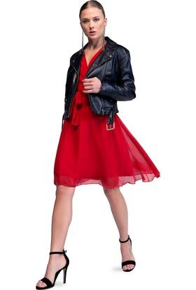 İroni İspanyol Kol Kırmızı Şifon Elbise