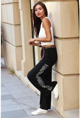 Womenice Baskı Desenli Krinkıl Pantolon