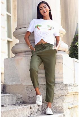 Womenice Beli Bağcıklı Cepli Pantolon