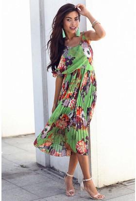 Womenice Çiçekli Askılı Şifon Elbise
