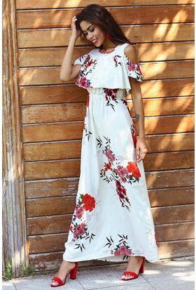 Womenice Çiçekli Omuz Dekolte Elbise