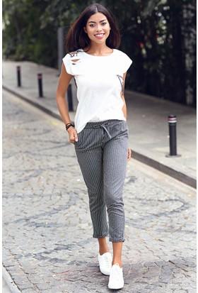 Womenice Çizgili Beli Bağcıklı Pantolon