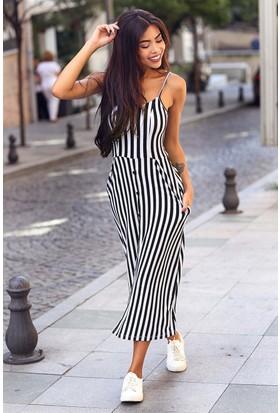Womenice Çizgili Düğme Detay Viskon Elbise