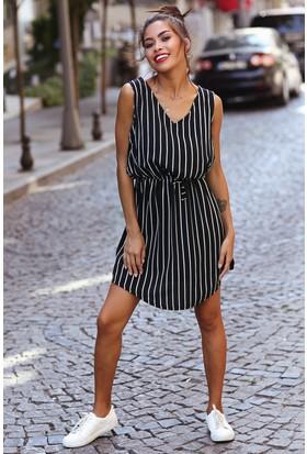 Womenice Çizgili V Yaka Krinkıl Elbise
