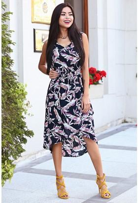 Womenice Eflatun Çiçekli Çapraz Etekli Elbise