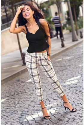 Womenice Ekose Beli Lastikli Pantolon