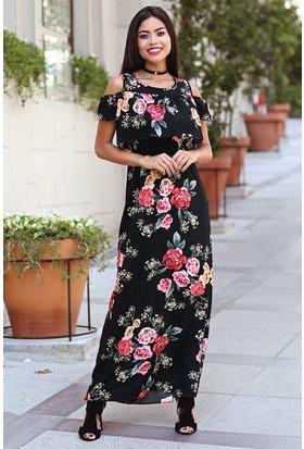 Womenice Kırmızı Çiçekli Omuz Dekolte Elbise