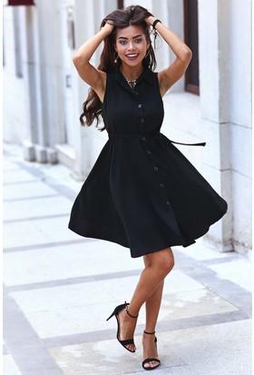 Womenice Kolsuz Krep Gömlek Elbise