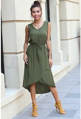 Womenice Krinkıl Çapraz Etekli Elbise