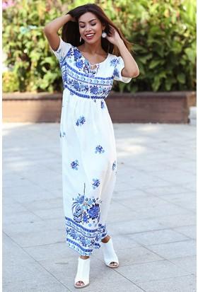 Womenice Mavi Baskılı Beli Lastikli Elbise