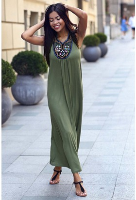 Womenice Nakışlı Taşlı Salaş Elbise