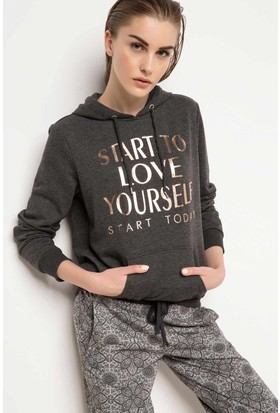 DeFacto Kadın Sporcu Sweatshirt Antrasit