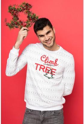 DeFacto Erkek Sıfır Yaka Baskılı Sweatshirt Beyaz