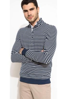 DeFacto Erkek Yarım Balıkçı Çizgili Sweatshirt Lacivert