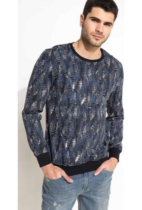 DeFacto Erkek Sıfır Yaka Baskılı Sweatshirt İndigo