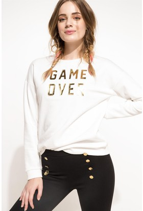 DeFacto Kadın Baskılı Sweatshirt Ekru