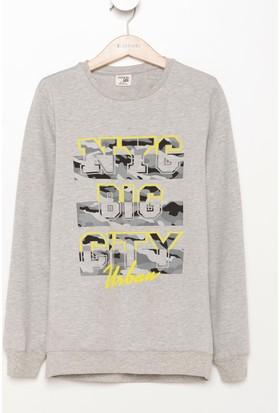 DeFacto Erkek Çocuk Baskılı Sweatshirt Gri