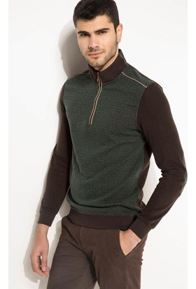 DeFacto Erkek Balıkçı Yaka Slim Fit Sweatshirt Kahverengi