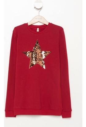 DeFacto Kız Çocuk Pul İşleme Detaylı Sweatshirt Kırmızı