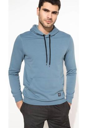 DeFacto Erkek Kapşonlu Sweatshirt Mavi