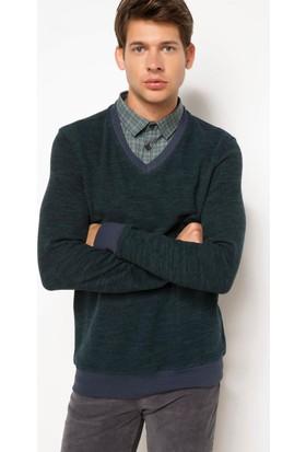 DeFacto Erkek Gömlek Yakalı Sweatshirt Haki