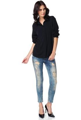 Lacarino Kadın Dar Kesim Kot Pantolon Taş Baskılı