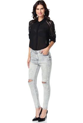 Lacarino Kadın Dar Kesim Kot Pantolon Gri Yırtık Diz