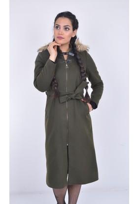 Şima Kadın Kapşonlu Kürklü Kaban - 17-2B521007