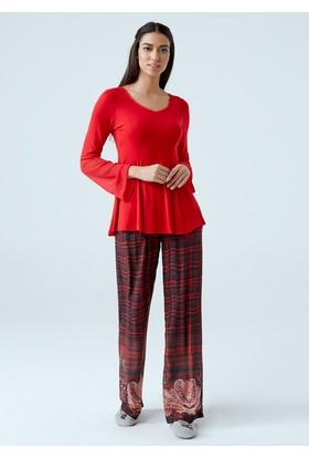 Dagi Kadın Pijama Takımı Kırmızı B0217K0350