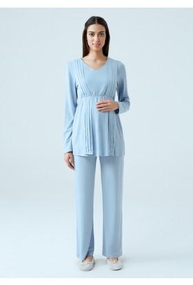 Dagi Kadın Lohusa Pijama Takımı Mavi B0217K0770