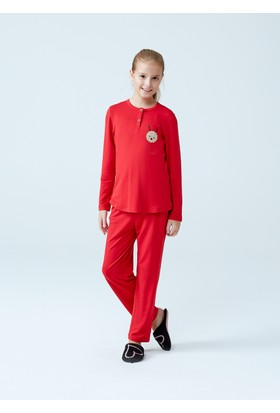 Dagi Kız Çocuk Pijama Takımı Kırmızı K0217K0084