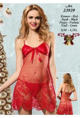 New Night Dantel Şifon Babydoll String 23939