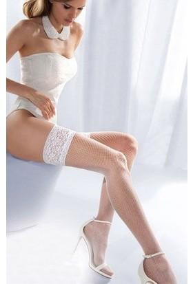 Zen Lingerie Dantelli Ve Silikonlu File Beyaz Kaliteli Jartiyer Çorabı
