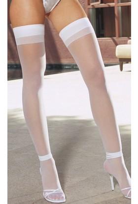 Zen Lingerie Kaliteli Beyaz Düz Jartiyer Çorabı