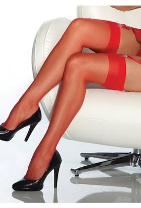 Zen Lingerie Kırmızı Kaliteli Düz Jartiyer Çorabı