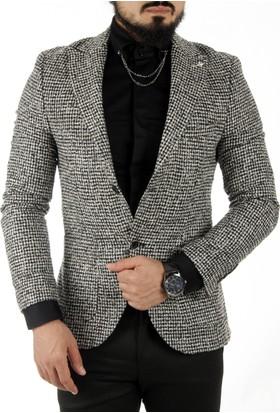Deepsea Siyah Beyaz Kaşe Blazer Ceket 1760142