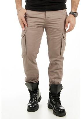 DeepSEA Bej Paçaları Lastikli Ağı Dikişli Likralı Spor Kargo Pantolon 1801455-021