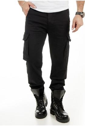 DeepSEA Siyah Paçaları Lastikli Ağı Dikişli Likralı Spor Kargo Pantolon 1801455-002