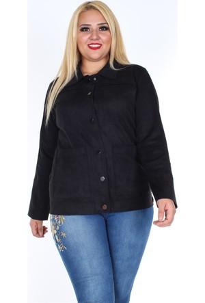 Rmg Cep Detaylı Süet Ceket Siyah