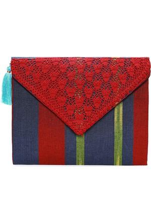 Turquoise Tassel Kırmızı Ibag10 Zarf Çanta