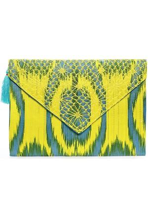 Turquoise Tassel Sarı Ibag32 Zarf Çanta